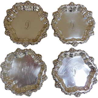 Vintage Sterling Silver Butter Pats, Set of 4 by Frank Whiting