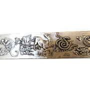 Vintage Chinese Nickel Silver Zodiac Bar