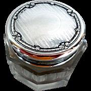Early Sterling & Crystal Rouge Pot, Dresser Jar