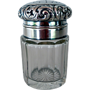 Early Sterling Silver Topped Vanity Powder Shaker Jar