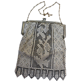 Whiting & Davis Enameled Mesh Bag, Ca 1890-1920