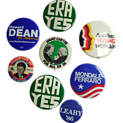 Vintage Political Buttons, Collection from 1960s to 80s