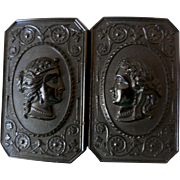 Antique Gutta Percha Molded Lady's Belt Buckle