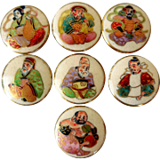 Vintage Satsuma Buttons, Set of 7, All Figures, 7/8 Inch Wide