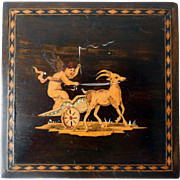 Vintage Inlaid Marquetry Trinket Box, Cupid on Chariot