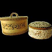 Vintage Folk Art Birch Bark Trinket Keepsake Boxes, Two