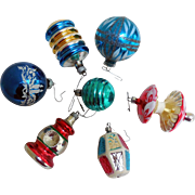 Mid-Century Glass Christmas Tree Ornaments - Varied Lot