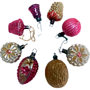 Early Glass Mini Christmas Tree Ornaments, Multi-Shape