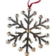 Vintage Rhinestone and Glass Beads Snowflake Ornament
