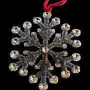 Vintage Rhinestone and Glass Beads Snowflake Ornament