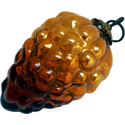 Early German Kugel Amber Glass Grape Cluster Christmas Ornament