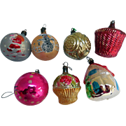 Early Glass, Hand-Painted, Christmas Tree Ornaments