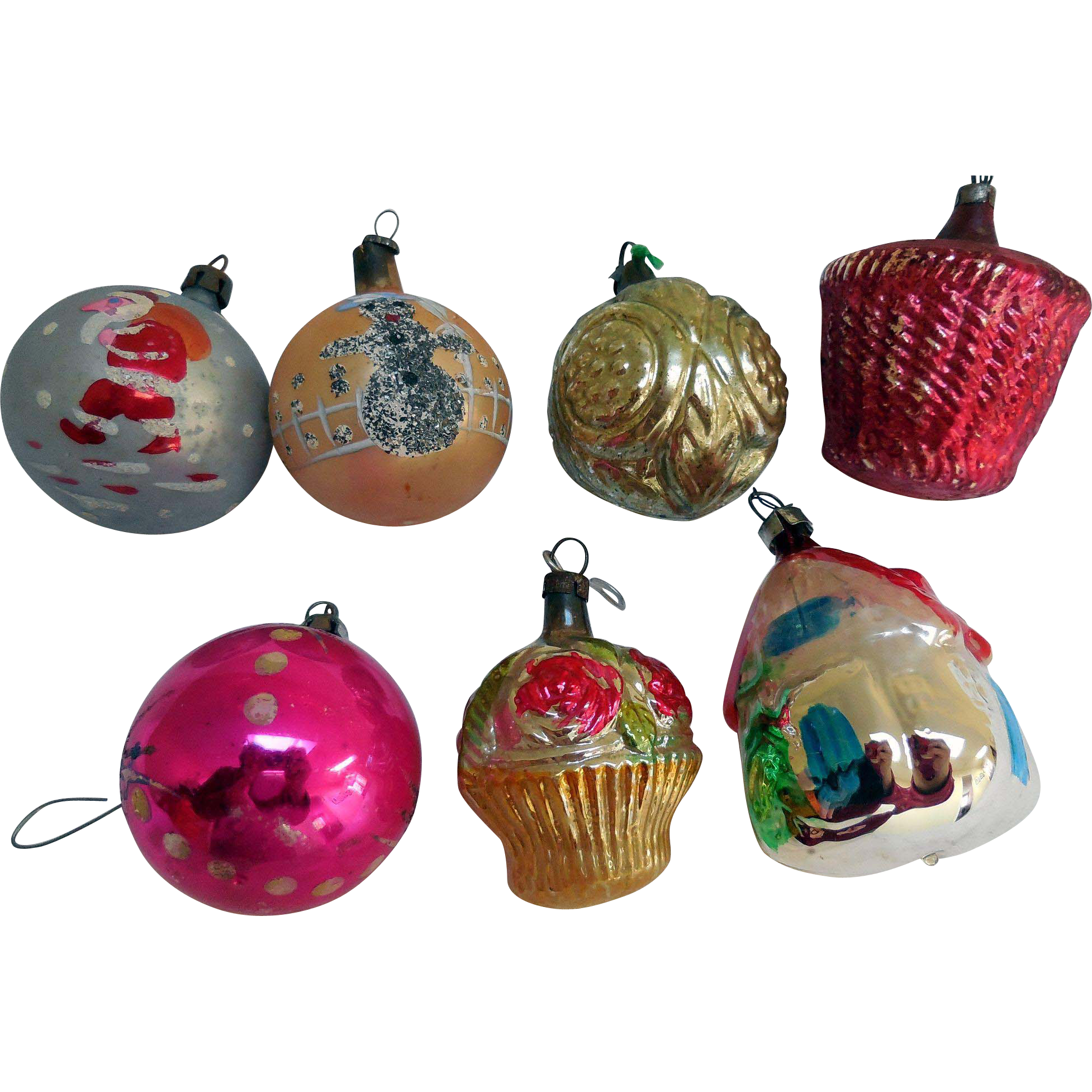 Early Glass, Handpainted, Christmas Tree Ornaments