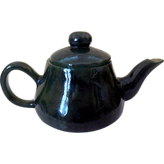 Vintage Asian Mini-Teapot, Carved Spinach Jade