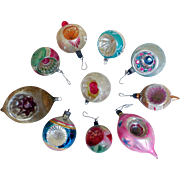 Vintage Hand-Painted, Gloss Christmas Tree Ornaments, (10)