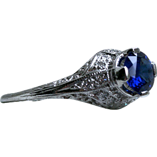 Pretty Vintage Platinum Diamond and Sapphire Engagement Ring - 1.09cttw.