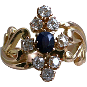 Gorgeous Antique 18K Yellow Gold Diamond and Sapphire Ring - 1.05cttw.