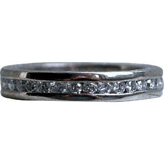 Amazing Antique Platinum Pave Diamond Full Eternity Wedding Band - 1.44cttw.