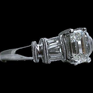 Stunning Vintage Platinum Emerald Cut Diamond Engagement Ring - 1.15cttw.