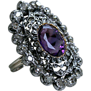 Gorgeous Georgian Antique Diamond and Amethyst Ring.