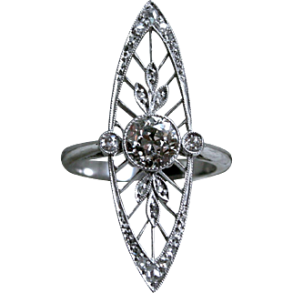 Stunning Edwardian Platinum Diamond Navette Ring - 1.60cttw.