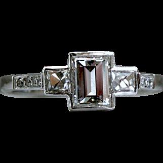 Stunning Vintage Platinum Emerald Cut Diamond Engagement Ring - 1.08cttw.