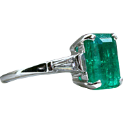 Classic Vintage 14K White Gold Natural Columbian Emerald Engagement Ring with Baguette Diamonds and GIA certificate- 3.54cttw.