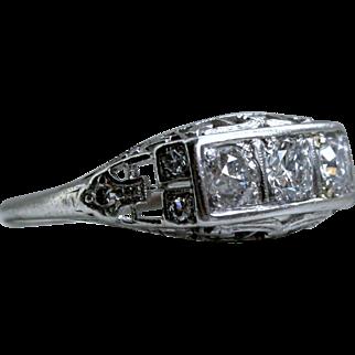 Vintage Three Stone Filigree Platinum Diamond Engagement Ring - 0.87ct.