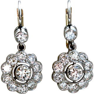 Beautiful Vintage 18K White/ Yellow Gold Diamond Cluster Earrings - 2.20ctw.