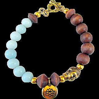Buddha Serenity Bead and Lotus Charm with Amazonite Gemstones and Wood Bead Bracelet