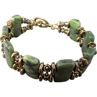 Dark Green Serpentine Gemstone Double Strand Bracelet