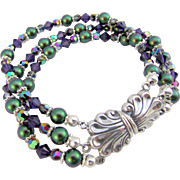 Three Strand Green and Purple Swarovski Crystal Bracelet