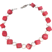 Dyed Red Coral Cubes with Cultured Freshwater White Rice Pearl Bracelet