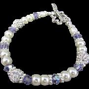 Swarovski Crystal Pearls and Pave Crystal Bracelet