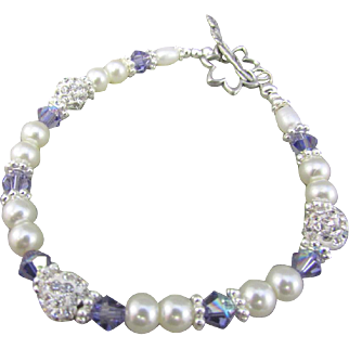 Swarovski Crystal Pearls and Pave Crystal Bracelet