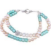Double Strand Cultured Freshwater Pearl and Turquoise Colored Bead Bracelet