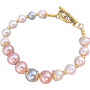 Pastel Colored Austrian Glass Pearl Bracelet