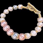 Pastel Colored Austrian Glass Pearl Bracelet