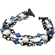 Black Triple Chain Bracelet with Swarovski Pearls and Blue Austrian Crystal