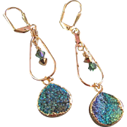 Gold Electroplated Druzy Agate Earrings