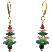 Swarovski Crystal Christmas Tree Handmade Earrings in Moss Green and Golden Shadow