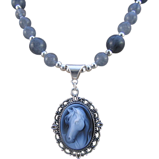 Horse Carved Agate Cameo Pendant and Slate Gray Agate Necklace