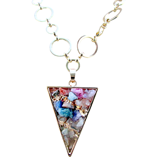 A Mixed Druzy Quartz Triangle Pendant Necklace