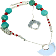 Blue Turquoise and Coral Gemstones with .925 Sterling Silver Disc Pendant and Earrings