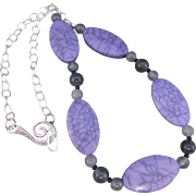 Lavender Veined Oval Necklace