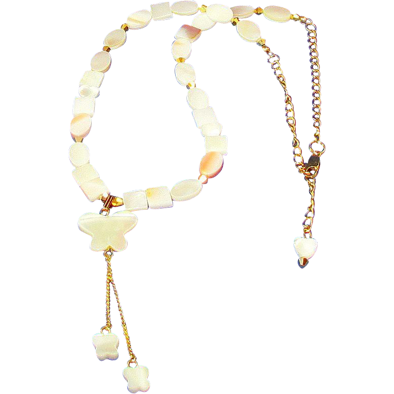 Mother of pearl with butterfly pendant necklace sold for Eurasia jewelry miami fl