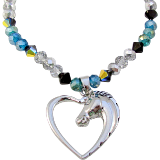 Silver-toned Metal Heart with a Horse Silhouette and Crystal Necklace with Earrings