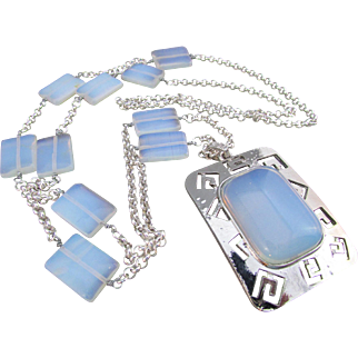 Handmade Blue Opalite Southwestern Style Pendant Sweater Necklace