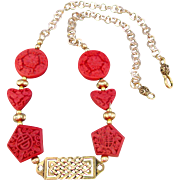 Red Imitation Cinnabar Stones with a Celtic Focal Necklace