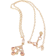 Rose-gold Colored Rhinestone Pendant Necklace